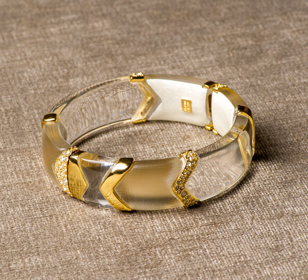 Alexis Bittar carved lucite bangle with crystals