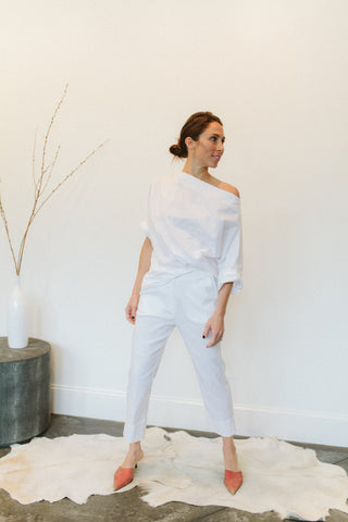 Peter O. Mahler Straight Pant with Wide Cuff White
