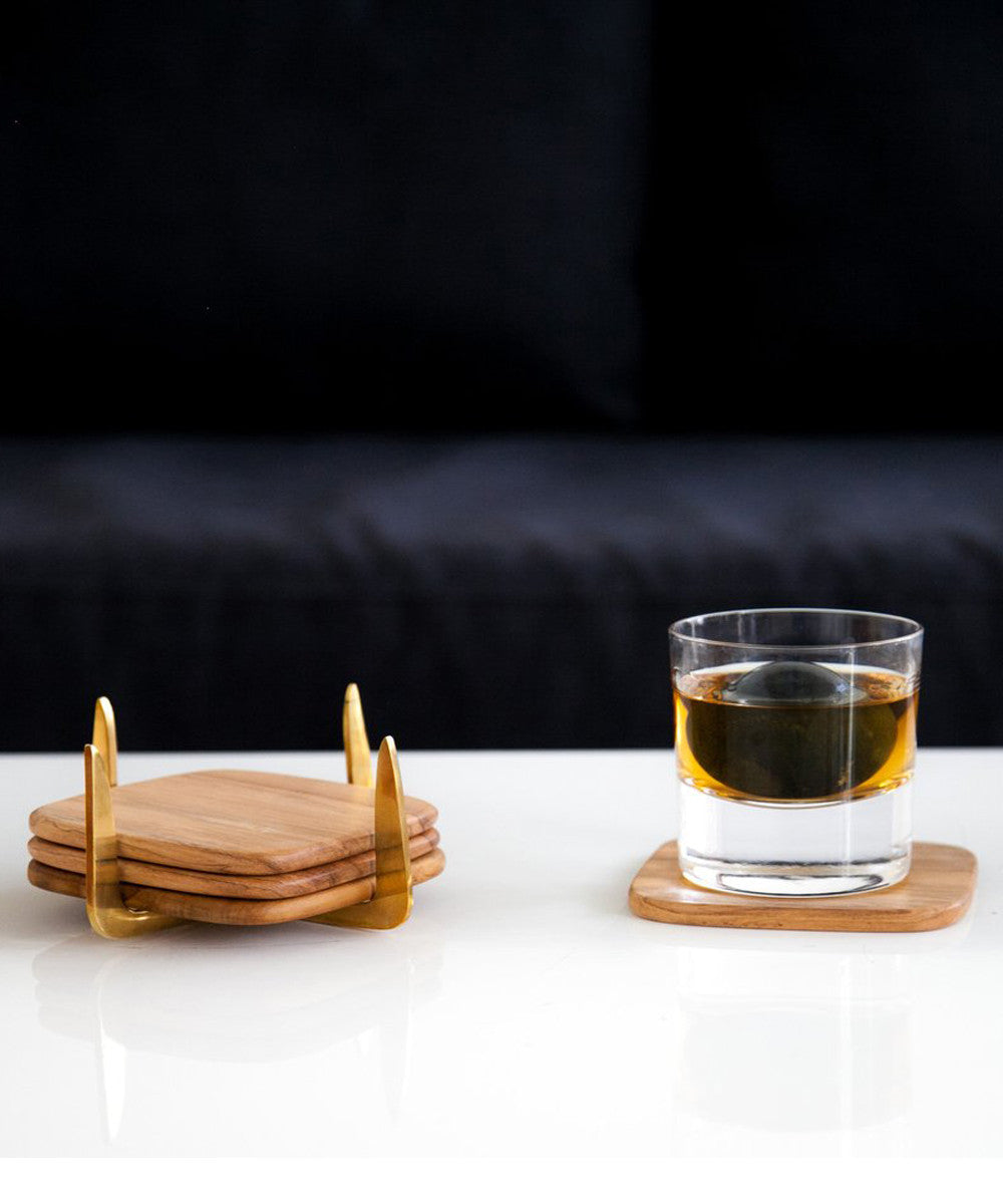 Pure Brass & Teak Coaster Set by Rose & Fitzgerald at PATRICIA in Southern Pines, NC