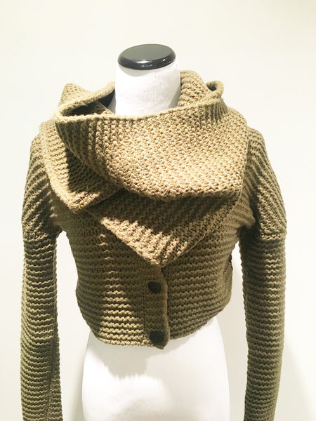 Women's cowl neck sweater in olive by Sarah Pacini at Patricia
