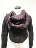 Women's cowl neck sweater in midnight blue by Sarah Pacini at Patricia