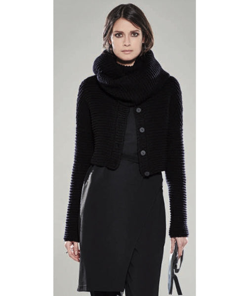 Women's cowl neck sweater by Sarah Pacini at Patricia