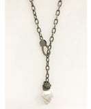 Nathan & Moe Baroque Pearl Necklace with Rondells on Matte Grey chain
