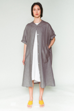 Shosh Grey Linen Duster and Belted Shirt Dress