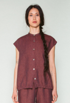 Shosh Linen Button Down Bubble Top, Dark Rose Red