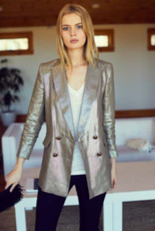 Emerson Fry Metallic Linen Double Breasted Jacket