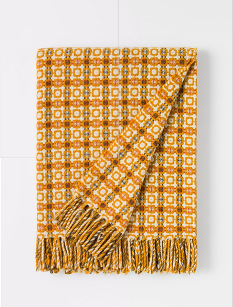 Burel Vintage Throw Light Grey-Mustard