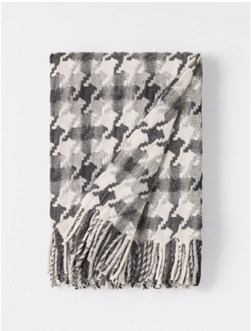 Burel Pied de Coq Throw in Light Grey-DarkGrey
