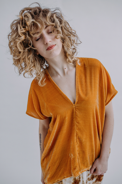 Rise & Ramble Velvet V-neck Top in Tumeric