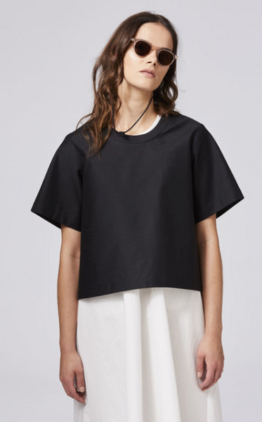 Boxy tee in black cotton from Shosh