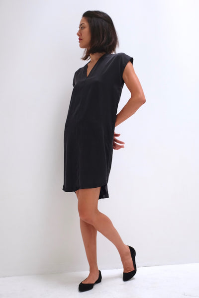 Natalie Busby Silk Charmeuse Straight Dress Black