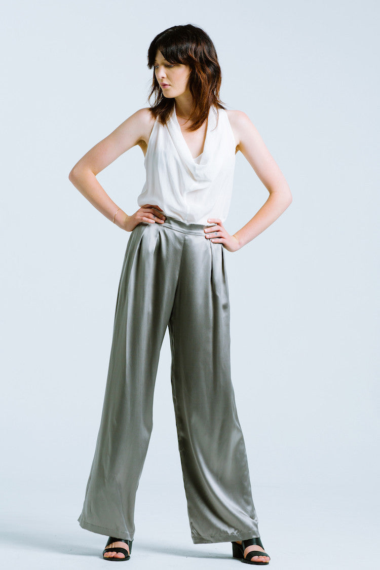 Natalie Busby Sueded Silk Charmeuse Trouser Steel