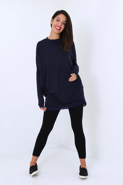Natalie Busby Slouchy T Dress with Mesh in Navy