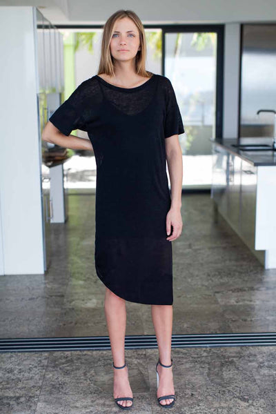 Emerson Fry | Tie Up Dress - Black Linen