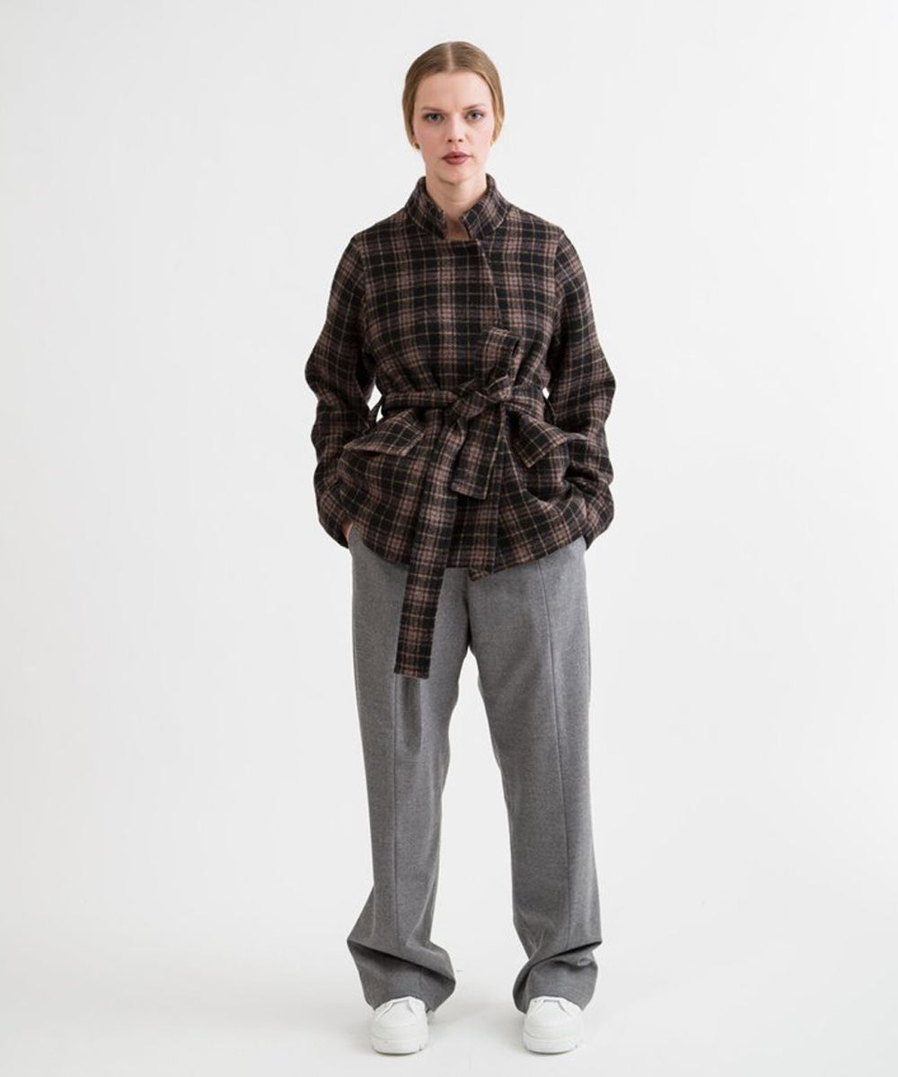 Women's Plaid Wrap Oversize Jacket by Shosh