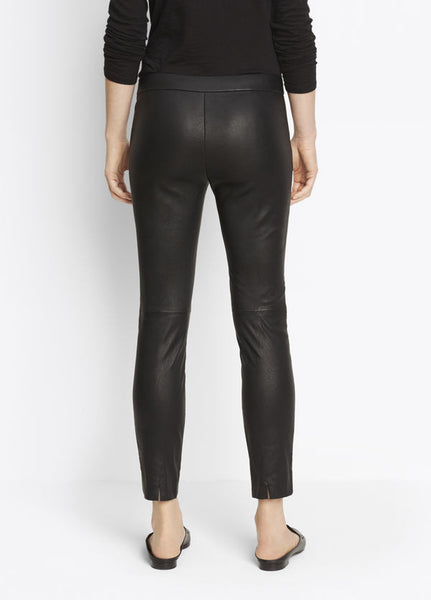 Vince Leather Legging, Flat front leggings crafted in luxe leather with a stitched front seam detail. 100% Lamb Black.