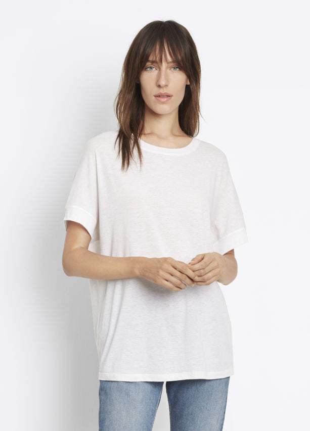 Vince Short Sleeve Cocoon Tee White, Crafted in a cotton silk blend imported from Japan; luxe tee cut with a soft cocoon shape.