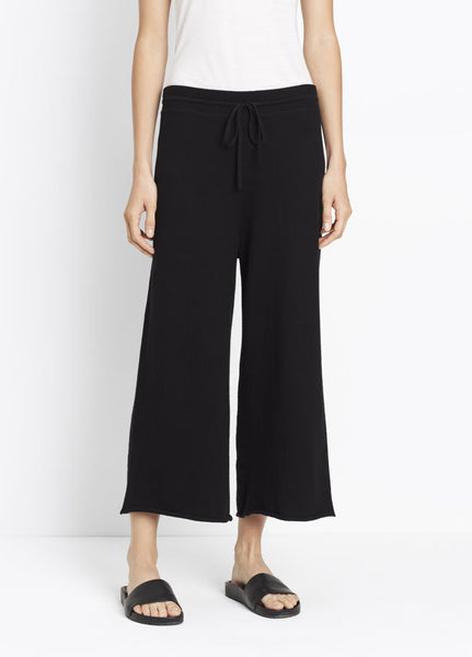 Vince Cropped Wide Pant, Crop wide leg pant knit in pure cotton with a contrast ribbed drawstring waistband.