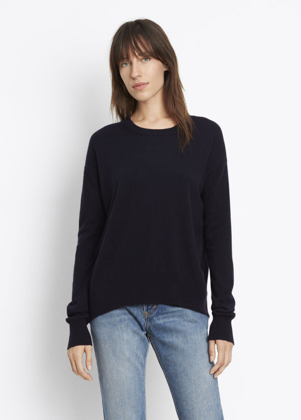 Vince Linen Cashmere Boxy Crew Neck Pullover, Knit in a soft, light linen-cashmere blend with a luxe, naturally heathered look; drapey crew neck pullover with contrast ribbed knit side panels. Coastal Blue.