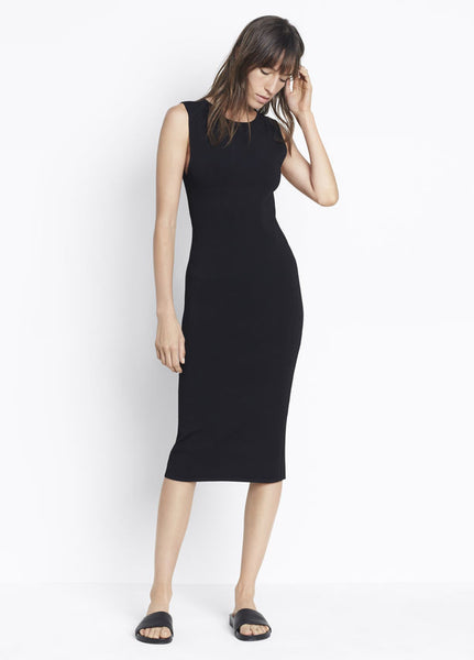 Vince Tank Dress, Form-fitting tank dress rib-knit in compact Italian yarns featuring contrasting fine-gauge rib side panels. Black.