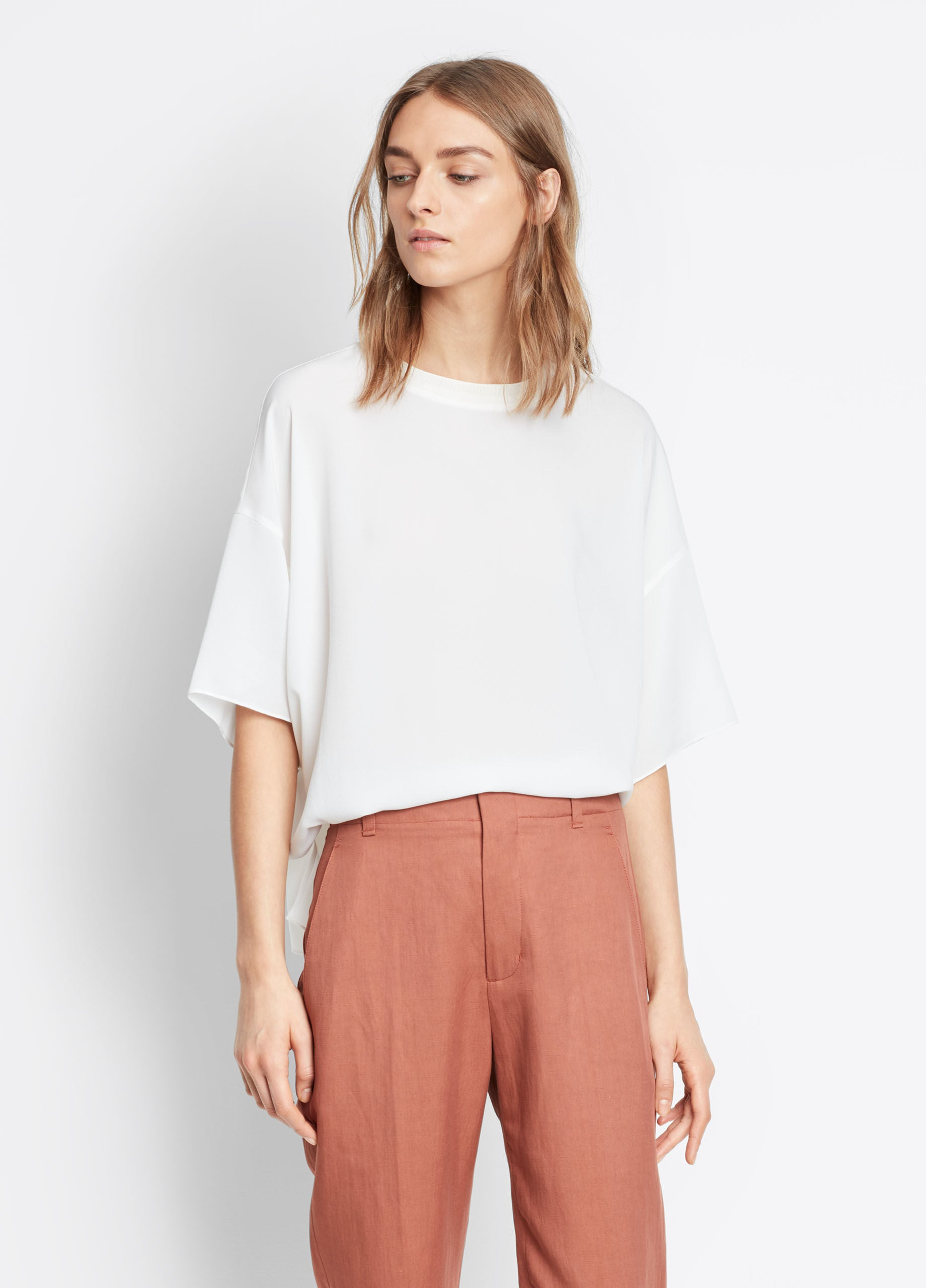 Vince Rib Neck Tee, White, Spaciously cut in in luxe washed pebbled crepe silk; drapey drop shoulder tee with tonal knitted rib trim at the jewel neck, in white
