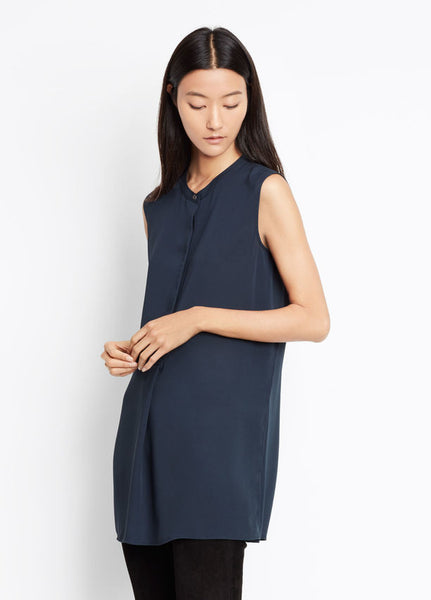 Vince Sleeveless Split Side Tunic, Coastal Blue, Textured silk crepe sleeveless tunic with a concealed half placket and exaggerated split sides in navy.