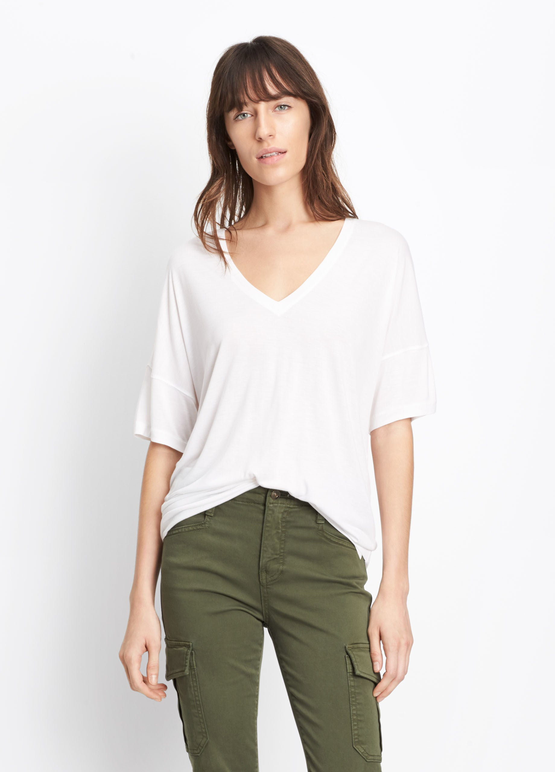 Vince Drop Shoulder V-Neck Tee, White, Crafted in warm-hand rayon with a luxe feel and elevated look; V-neck tee cut with drop shoulders and an easy, relaxed body.