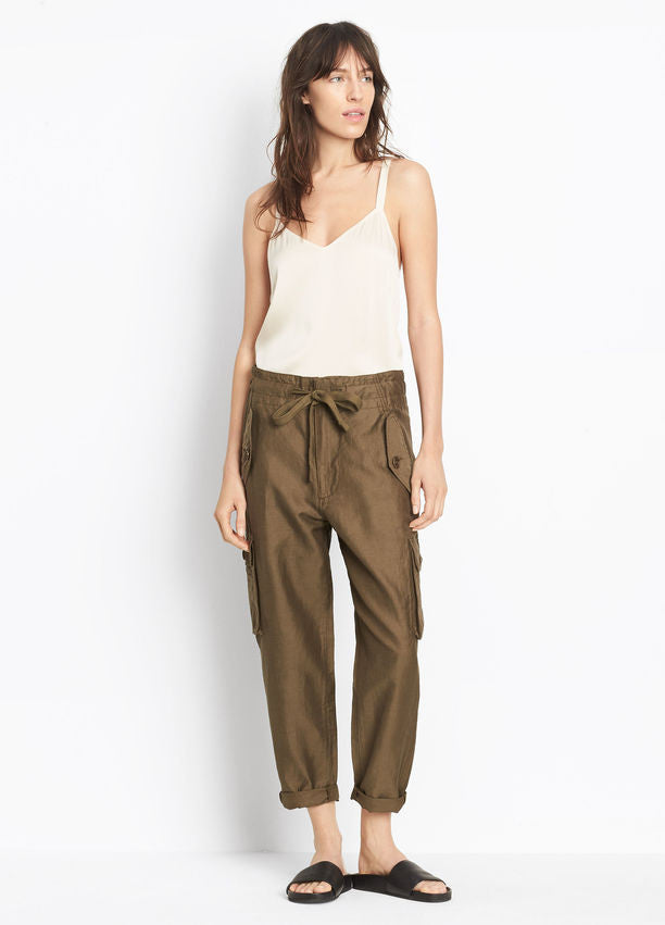 Vince Drawstring Utility Pant, Olive, Crafted in smooth, ultra-soft washed Italian cupro-linen-cotton; drawstring waist utility pant with cargo pockets and a slouchy, cropped cut.