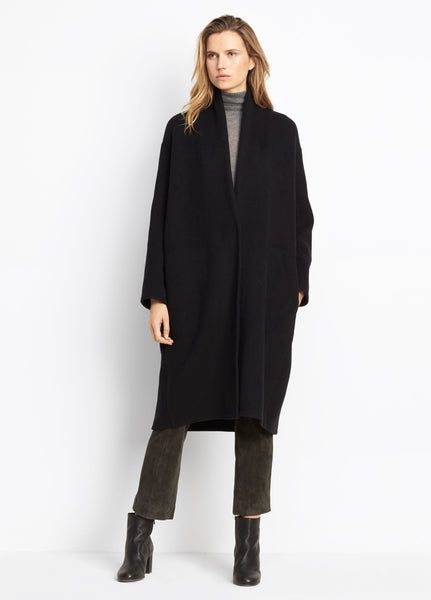 Vince High Collar V-Neck Coat in Black found at PATRICIA in North Carolina