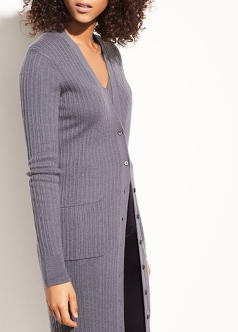 Vince Gray Mixed Rib Long Button Cashmere Cardigan