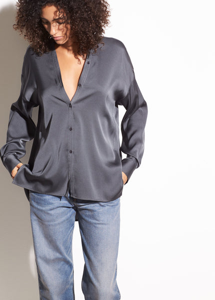 Vince V-Neck Stretch Silk Blouse in Mineral found at Patricia in Southern Pines and Raleigh, NC
