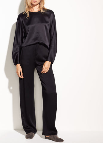 Vince High Waist Wide Leg Black Satin Pant