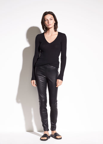 Vince Black Stretch-Leather Zip Ankle Legging