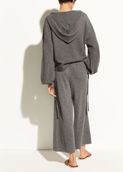 rear view women's wide legged pants and slouch hoodie