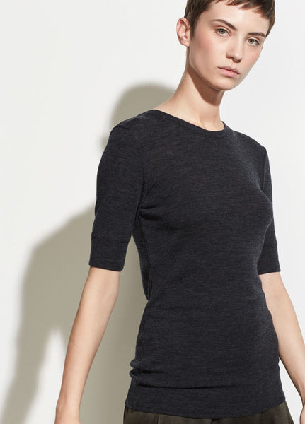 Vince short sleeve crew neck sweater, charcoal and camel, found at Patricia