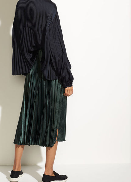 Vince Chevron Pleated Skirt Forest Green