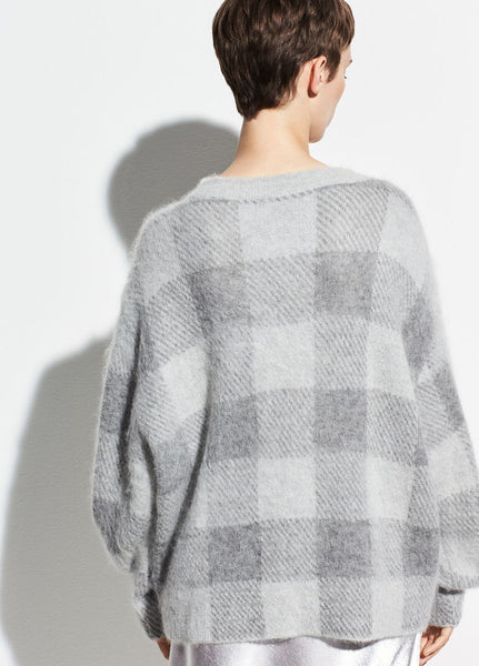 Vince Brushed Plaid Crewneck Sweater