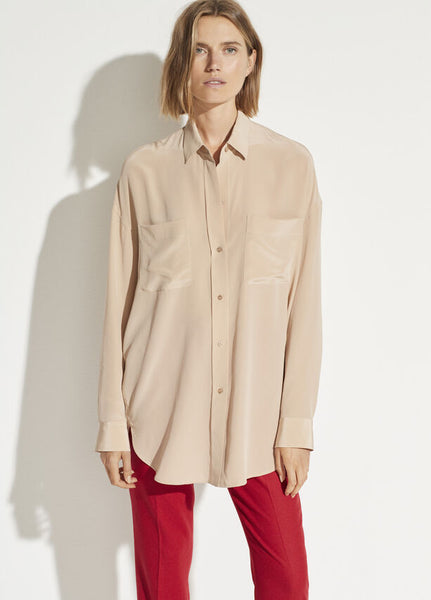 Vince Oversized button front silk blouse, limestone, found at Patricia in Southern Pines, NC