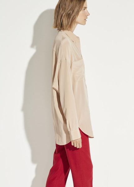 Vince oversized silk button front blouse in limestone found at Patricia in Southern Pines, NC