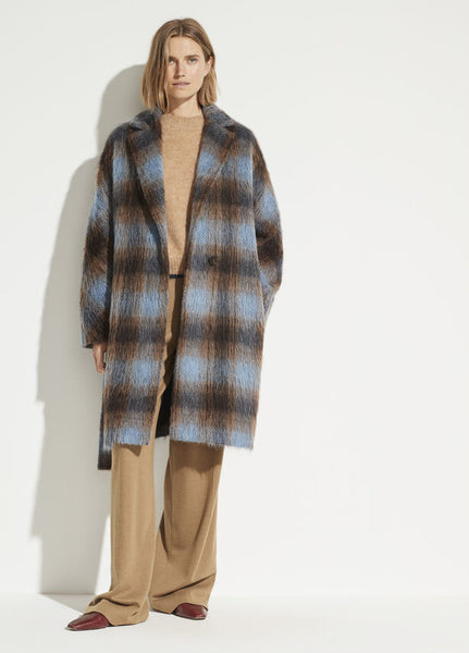 Vince belted blue/brown plaid coat with self tie found at Patricia in southern pines, NC