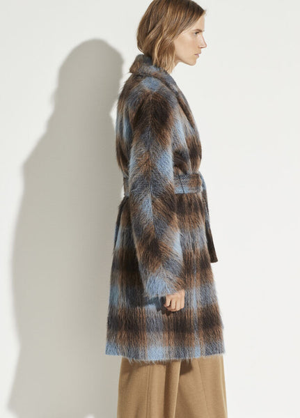 Vince plaid coat belted blue/brown found at Patricia in Southern Pines, NC