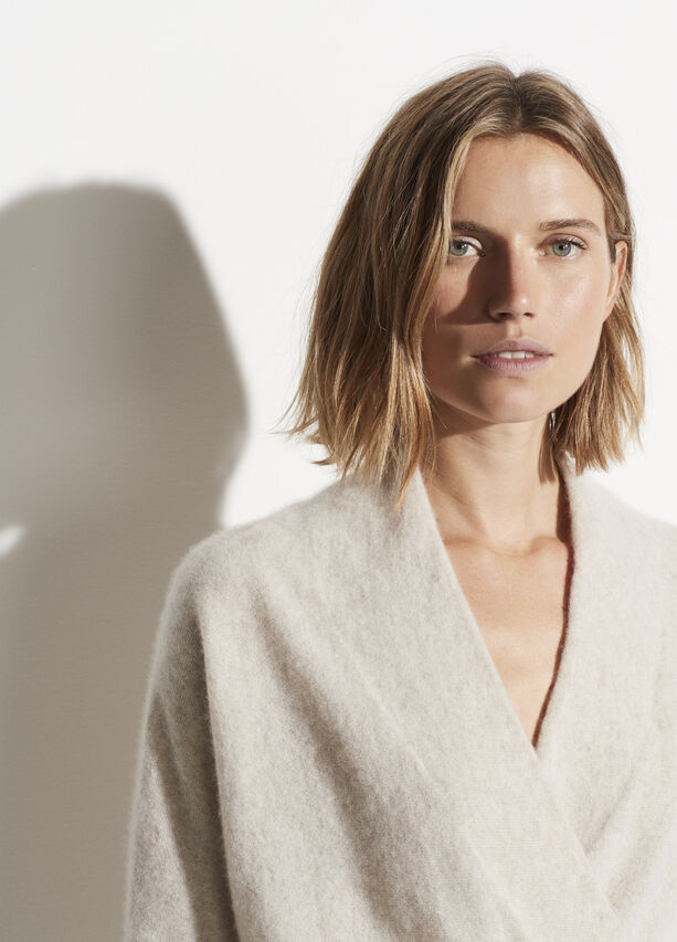 Vince Cashmere Wrap Front Pullover in black or heathered oat found at PATRICIA in Southern Pines, NC
