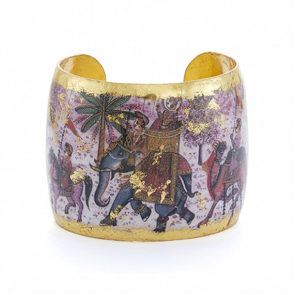 Beautiful Evocateur gold leaf cuff, available at Patricia