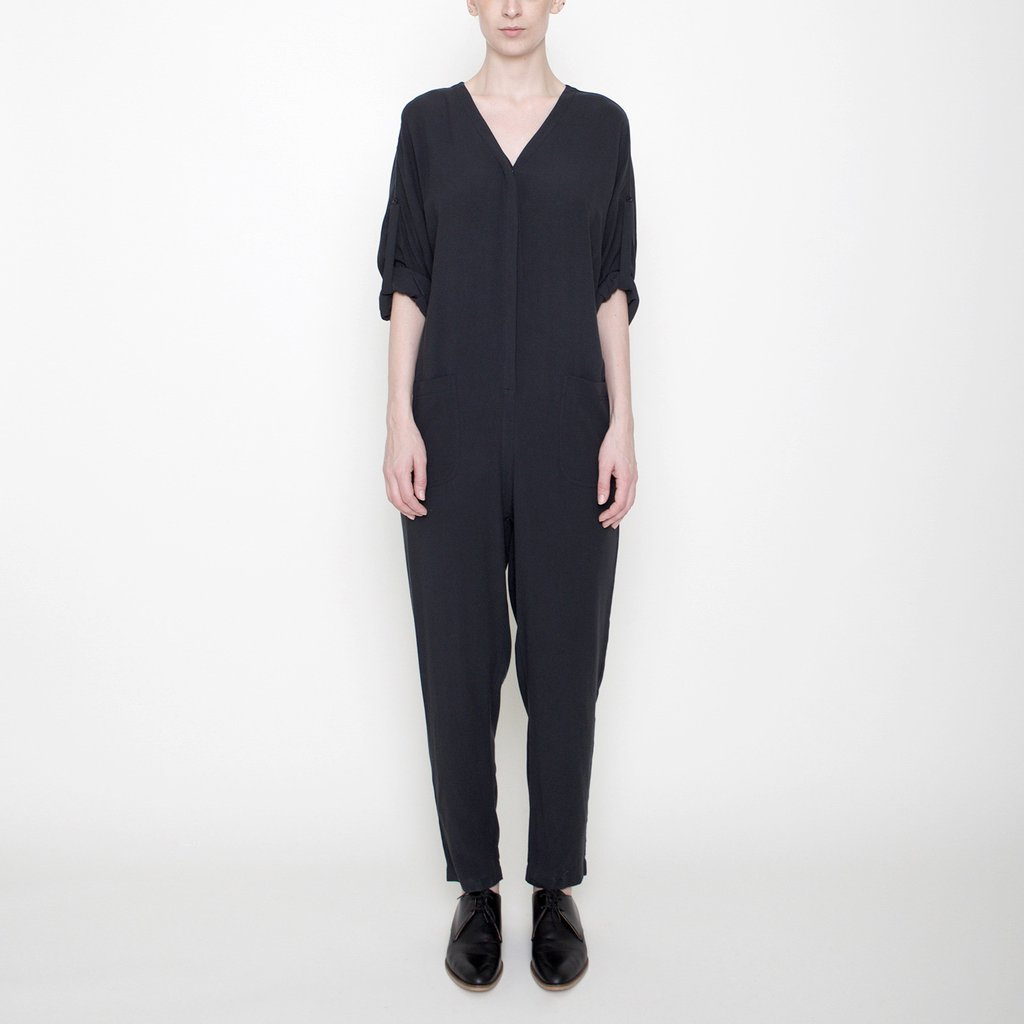 Charcoal tencel jumpsuit with V-neckline and easy tie, found at Patricia in Southern Pines, NC