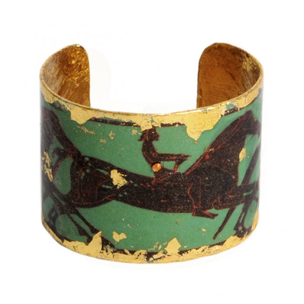 Beautiful Evocatuer green greek horses gold leaf cuff, available at Patricia