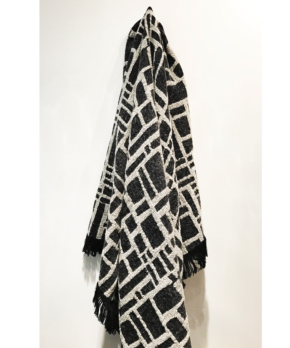 Block Print  Fringed Throw by The Oriole Mill