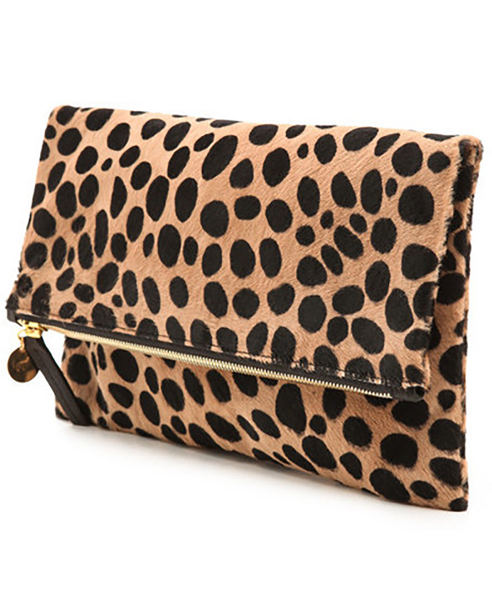Clare V. Leopard Foldover Clutch