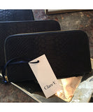 Clare V. Zip Wallet Black Snake