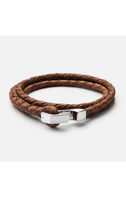 Miansai Sahara Leather Ipsum Wrap Bracelet with a Sterling Hook