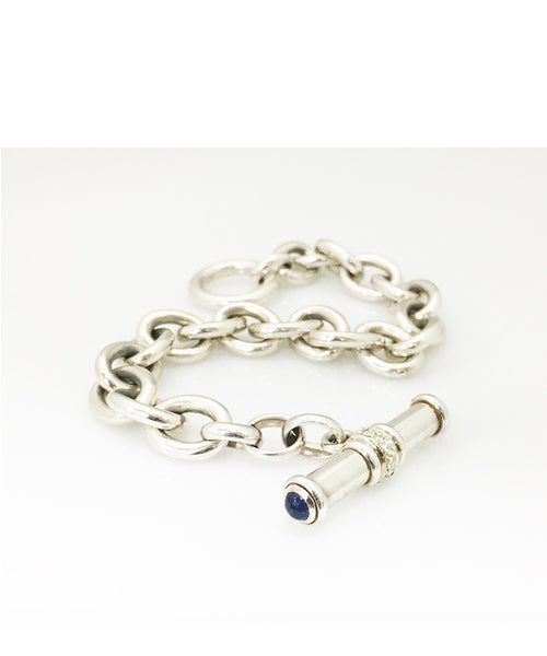 DFS Sterling Silver Handmade Cable Bracelet with Sapphire Toggle